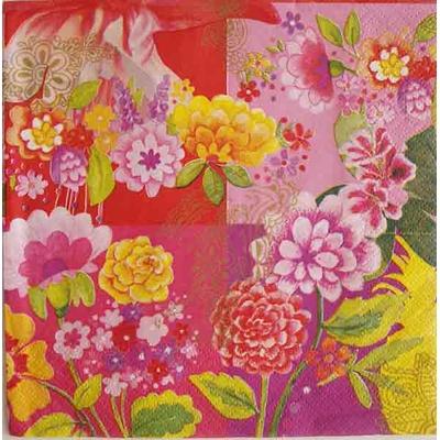 """Serviette en papier  - """"fleurs roses"""""""