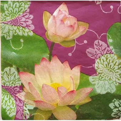 """Serviette en papier - """"Fleurs de lotus"""""""