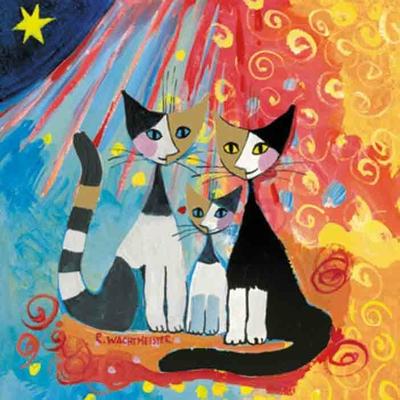 """Serviette en papier - """"Famille chat - R.Weichtmeister"""""""