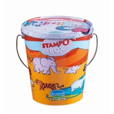 Stampo Box (Aladine) - Kit tampons, encreurs, feutres -  pour enfants - la Savane