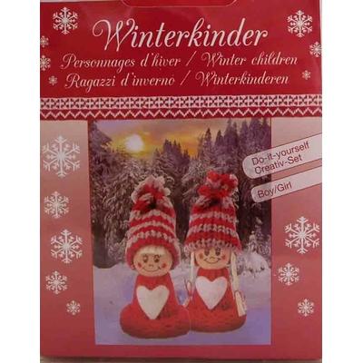 """Kit créatif - set 2 figurines """"personnages d'hiver rouges"""" à habiller - Glorex"""