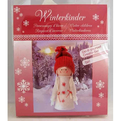 """Kit créatif - 1 figurine """"personnages d'hiver - fille"""" à habiller  - Glorex"""