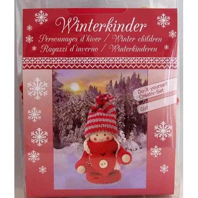 """Kit créatif -  1 figurine """"personnages d'hiver - fille rouge"""" à habiller - Glorex"""