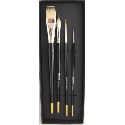 Assortiment 4 pinceaux huile & acrylique  - Manche court - Manet Etoile
