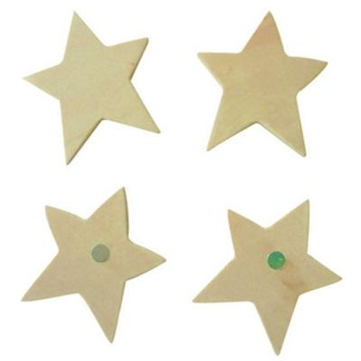 4 Magnets en bois à décorer - Etoiles - Pwinternational