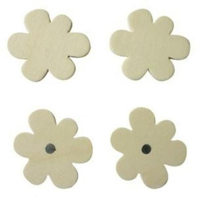 4 Magnets en bois à décorer - Fleurs - Pwinternational