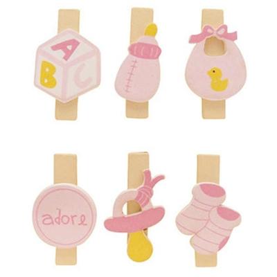 Mini pinces à linge  aimantées en bois - naissance filles