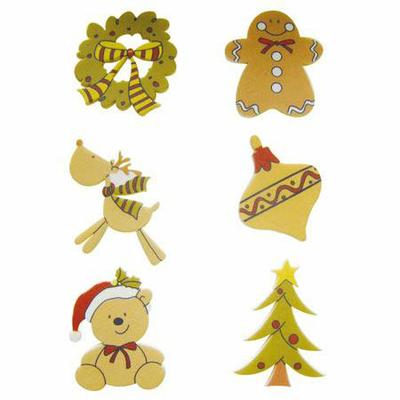 6 formes en bois décorées - adhésives - Ornements de Noël