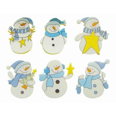 6 formes en bois décorées - adhésives - Bonhommes de neige