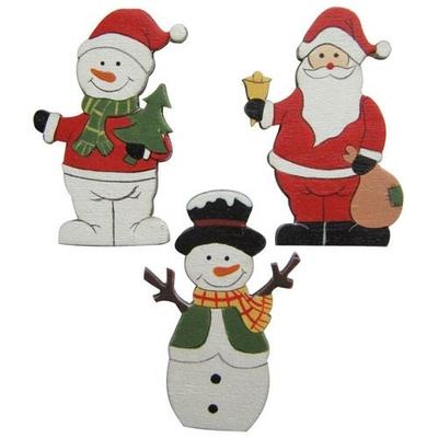6 formes en bois - motifs de Noël