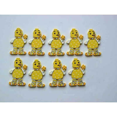 9 formes en bois décorées - canards jaunes
