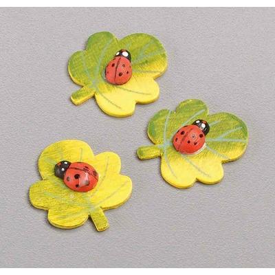 8 formes en bois 3D décorées - Feuille d'érable avec coccinelle