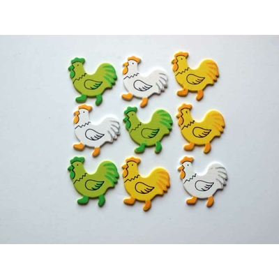 9 formes en bois décorées - poules