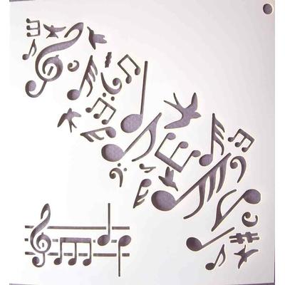 """Pochoir motif """"notes de musique"""" - 14,7X14,7cm"""
