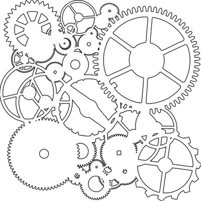 "Pochoir motif "" mini gears"" - 15x15 cm - TCW"