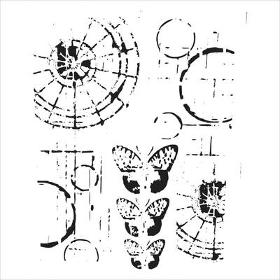 """Pochoir motif """" mini specimens"""" - 15x15 cm - TCW"""