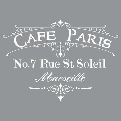 "Pochoir motif ""Café Paris"" - Americana Decor Stencil - 30,5X30,5cm"