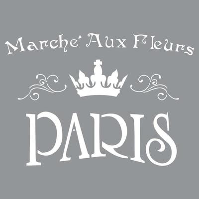 """Pochoir motif """" Le marché aux fleurs"""" - Americana Decor Stencil - 30,5X30,5cm"""