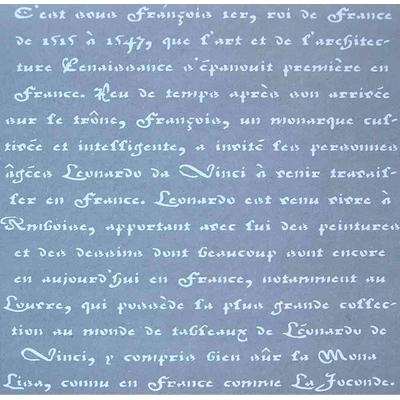 """Pochoir motif """"texte en vieux français"""" - Americana Decor Stencil - 30,5X30,5cm"""