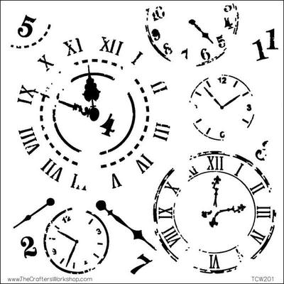"""Pochoir motif """"horloges""""- 15X15cm (6""""X6"""")"""