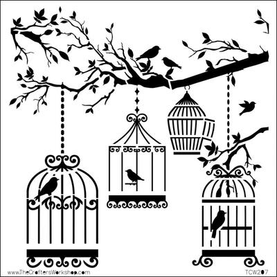 """Pochoir motif """"oiseaux en cages """"- 15X15cm (6""""X6"""")"""