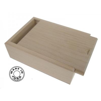 Boîte pour cartes à jouer en bois naturel + Un jeu de 7 familles