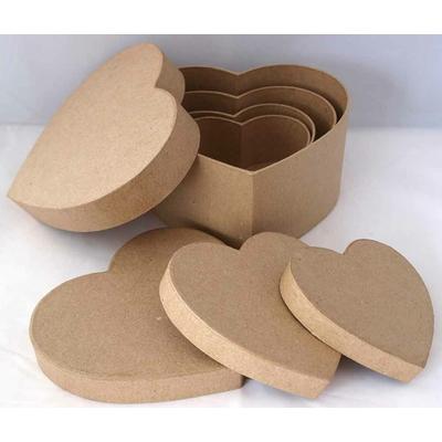 Assortiment 4 boîtes coeur en papier mâché