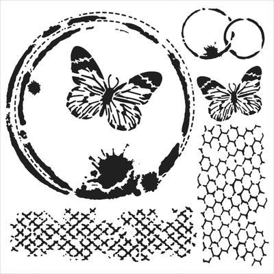 "Pochoir motif ""Mini butterfly collage"" - 15X15cm"