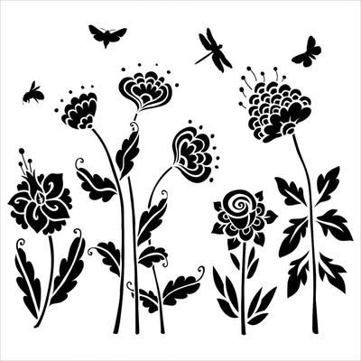 "Pochoir motif ""Mini Flying Garden""- 15X15cm"