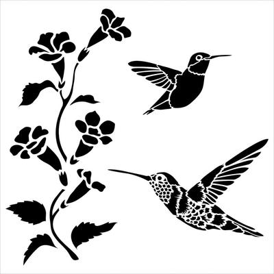 """Pochoir motif """"Petits colibris""""- 15X15cm"""