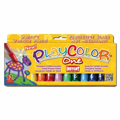 Playcolor One - gouache solide - Etui de 12 sticks larges