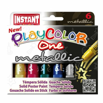 Playcolor ONE metallic - gouache solide - Etui de 6  Sticks larges