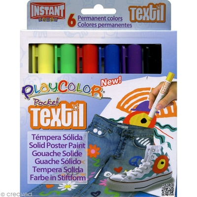 Playcolor Pocket Textil - gouache solide - Etui de 6  Sticks fins
