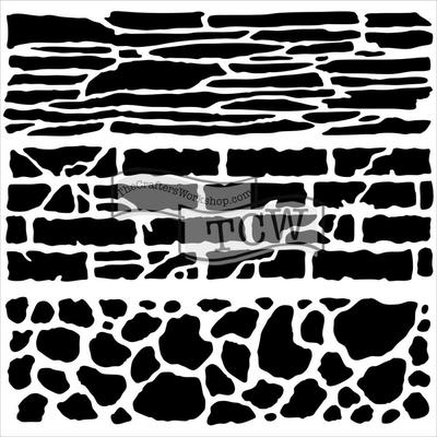 "Pochoir motif ""Mini rock wall""- 15X15cm"
