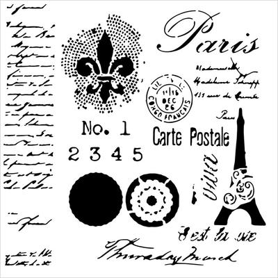 """Pochoir motif """"mini carte postale"""" - 15x15cm - TCW"""