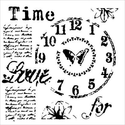 "Pochoir motif ""mini time for love"" - 15x15cm - TCW"
