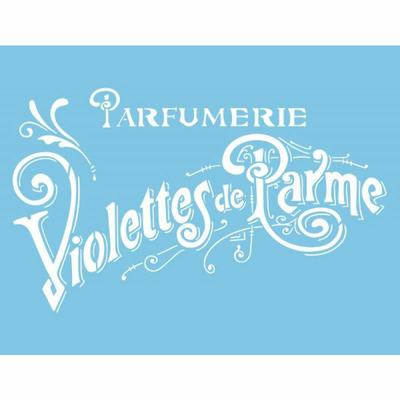 """Pochoir motif """"parfumerie violettes de Parme"""" - 21,5x28cm"""