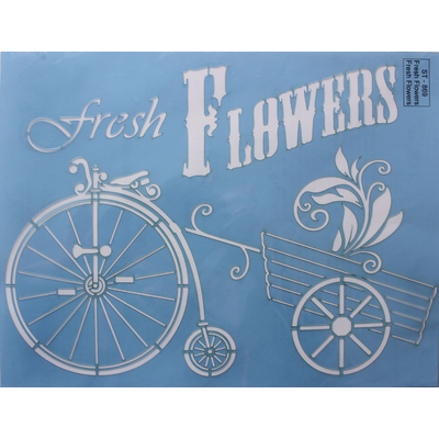 "Pochoir motif ""Fresh Flowers""- Linda Lock - 21,5X28cm"