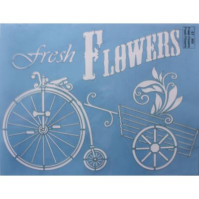 """Pochoir motif """"Fresh Flowers""""- Linda Lock - 21,5X28cm"""