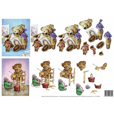 planche d'images pour cartes 3D - A4 - oursons