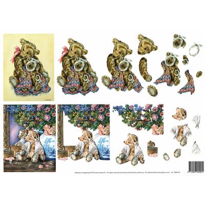 planche d'images pour cartes 3D - A4 - oursons4