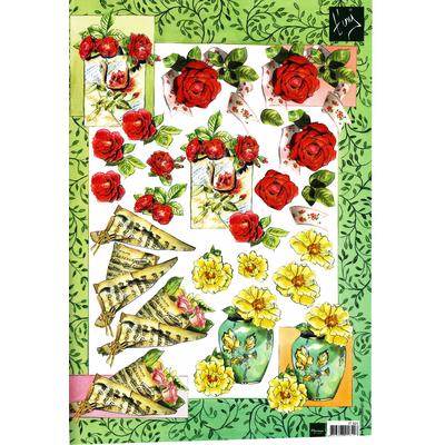 planche d'images pour cartes 3D - A4 - roses