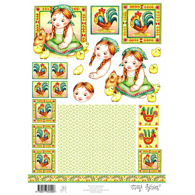planche d'images pour cartes 3D - A4 - petite fille et poussins