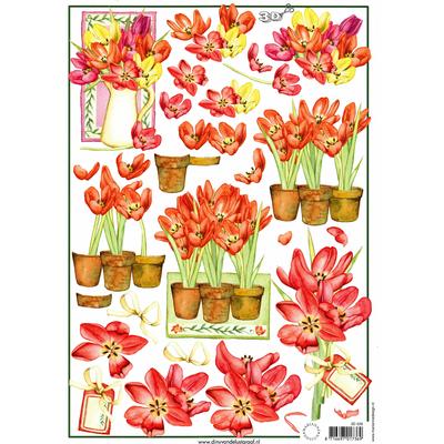 planche d'images pour cartes 3D - A4 - Tulipes