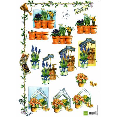 planche d'images pour cartes 3D - A4 - The garden 1