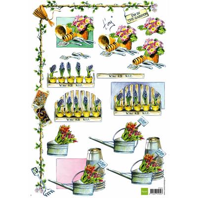 planche d'images pour cartes 3D - A4 - The garden 2