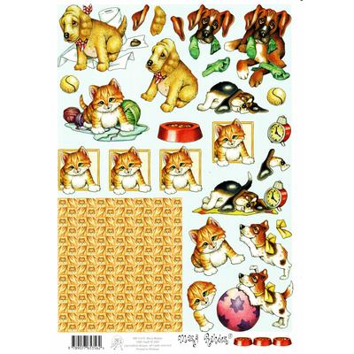 planche d'images pour cartes 3D - A4 - chaton et chiot