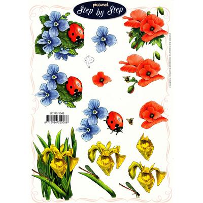 planche d'images pour cartes 3D - A4 - Fleurs et coccinelles