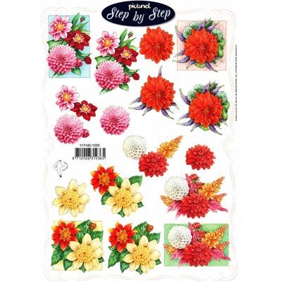 planche d'images pour cartes 3D - A4 - Dahlias