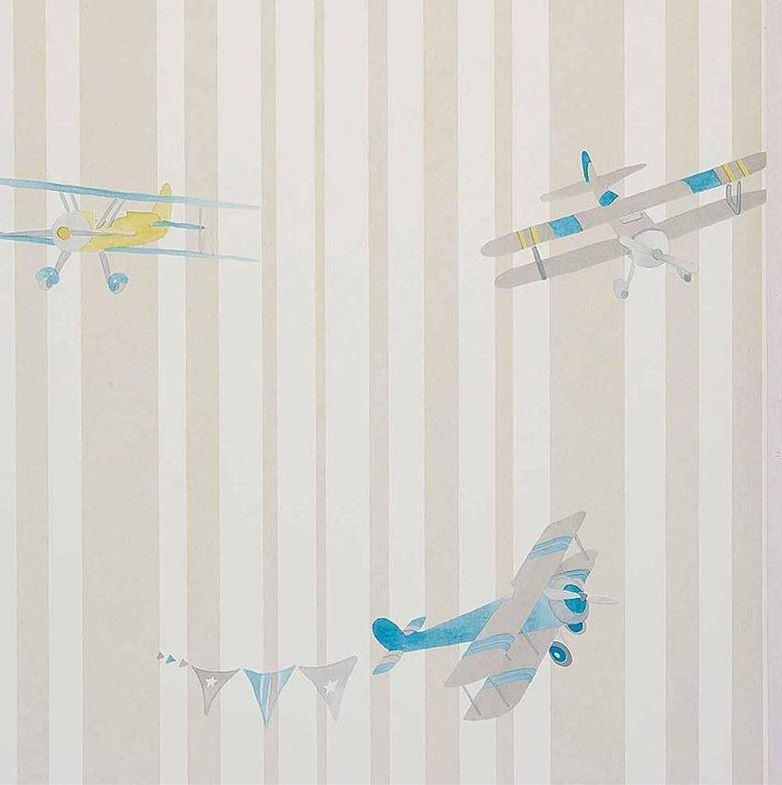 Abracadabra-collection-enfant-camengo-papier-peint-avion-acrobat-gris
